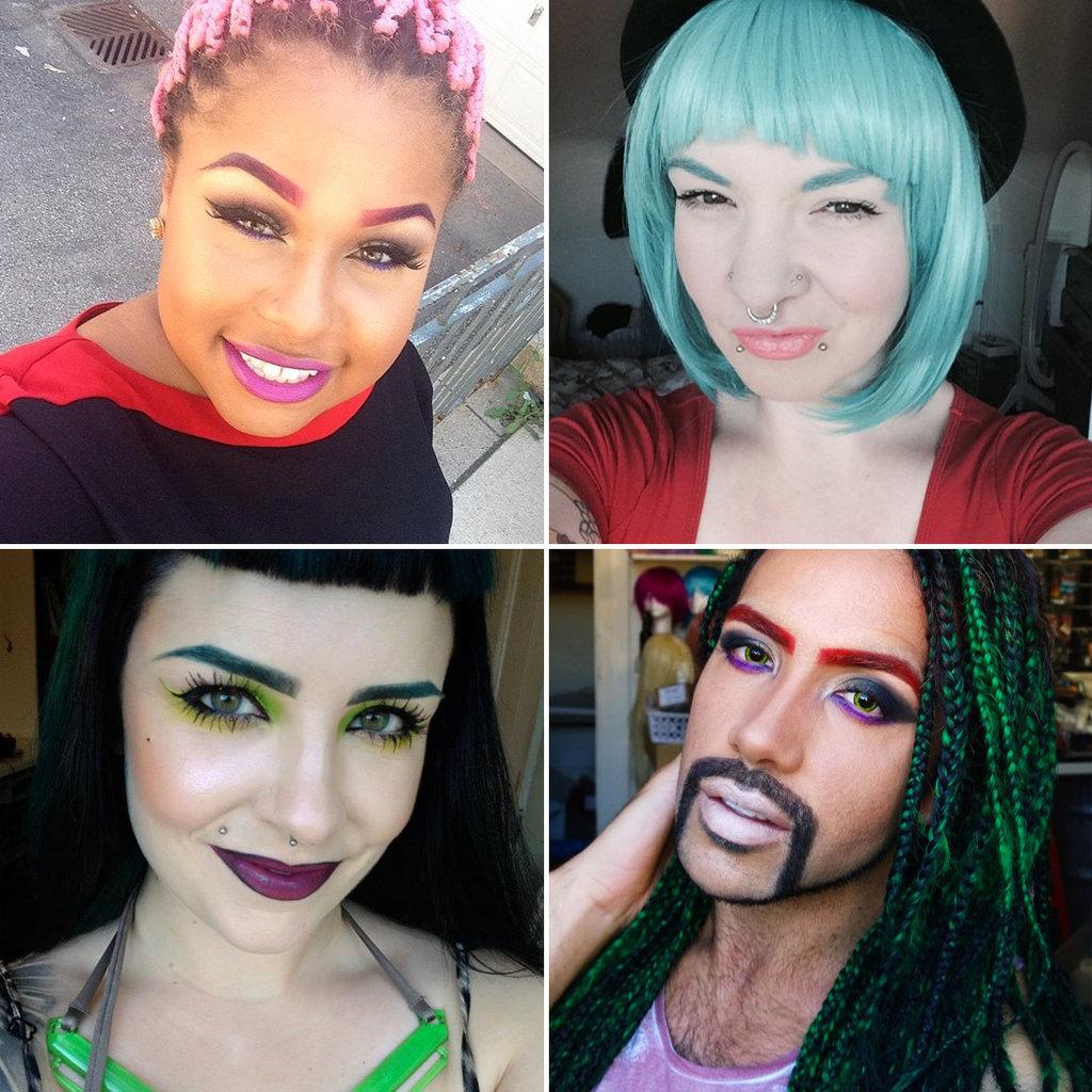 брови, разноцветные брови, цветные брови, брови тренды