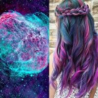 окрашивание, космос, яркие волосы, цветные волосы