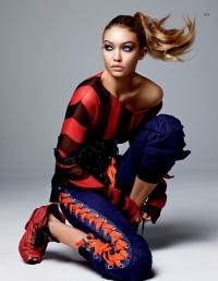 Джиджи Хадид, Vogue Китай, спортивный шик, Alexander McQueen, Bottega Veneta, Paco Rabanne, Louis Vuitton, Chanel, Giorgio Armani