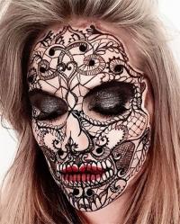 череп, череп макияж, сахарный череп, мексиканский череп, визажист инстаграм, чудеса макияжа