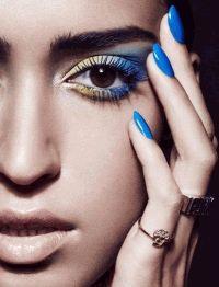 Vogue India,Синий макияж,фотоприцел,желто-синий