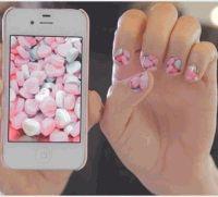 необычный маникюр,мобильное приложение,наклейки ногти