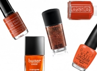 маникюр,фото,тренды,осень,2014,зима,оранжевый,металлик,темный лак,лаки для ногтей