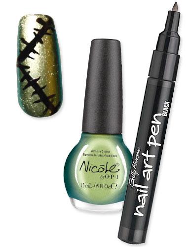Ногти франклинштейна зеленый лак