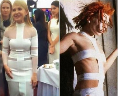 """Мультипаспорт: Юлия Тимошенко вдохновляется стилем Лилу из """"Пятого элемента""""?"""