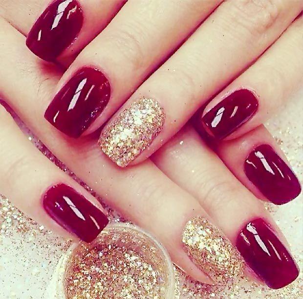 Дизайн ногтей вишневые