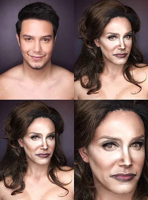 мужчина с помощью макияжа превращается в звездных див
