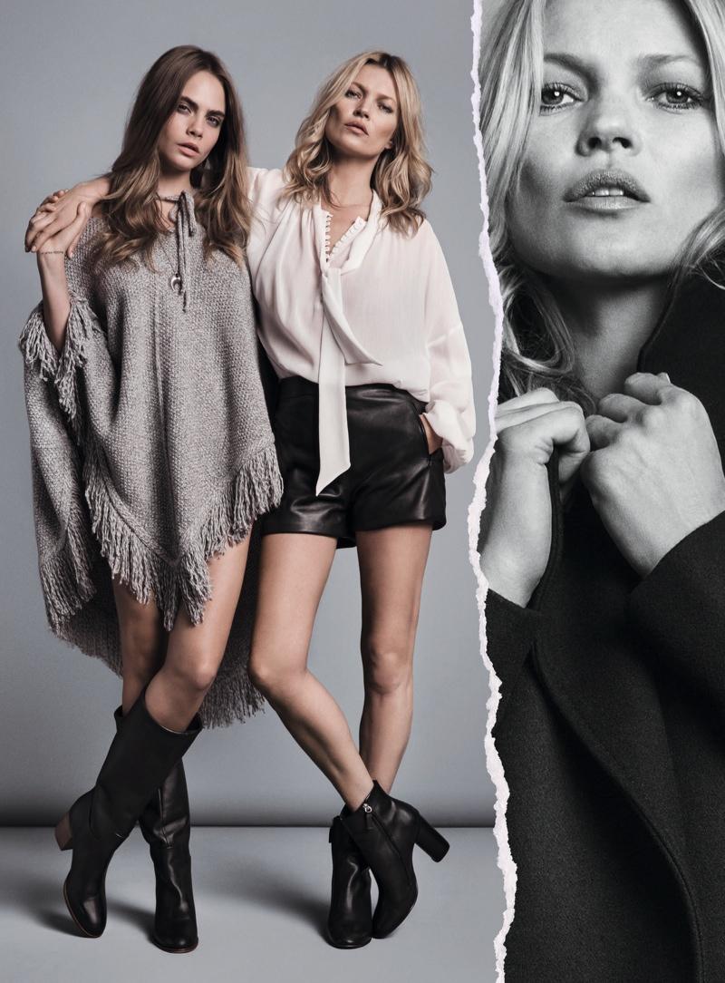 Кара Делевинь и Кейт Мосс в рекламе коллекции Mango осень-зима 2015