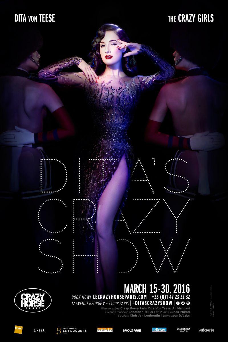 Образ дня: Дита Фон Тиз в полупрозрачном платье на премьере шоу Le Crazy Horse в Париже