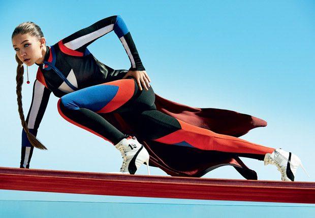 Быстрее, выше, сильнее: Джиджи Хадид занимается спортом на страницах нового Vogue