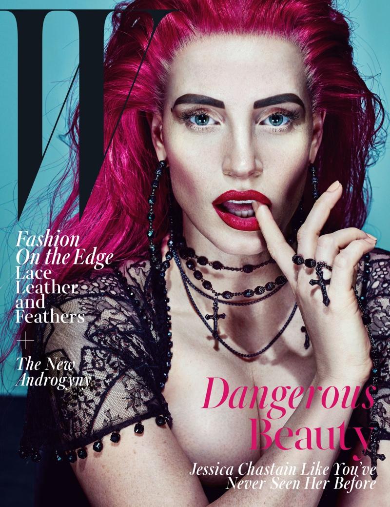 Джессика Честейн в очень провокационном образе для ноябрьского номера W Magazine