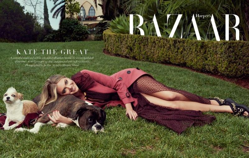"""Дама с собачкой: Кейт Аптон в милейшей фотосессии с """"друзьями человека"""" для Harpers Bazaar"""