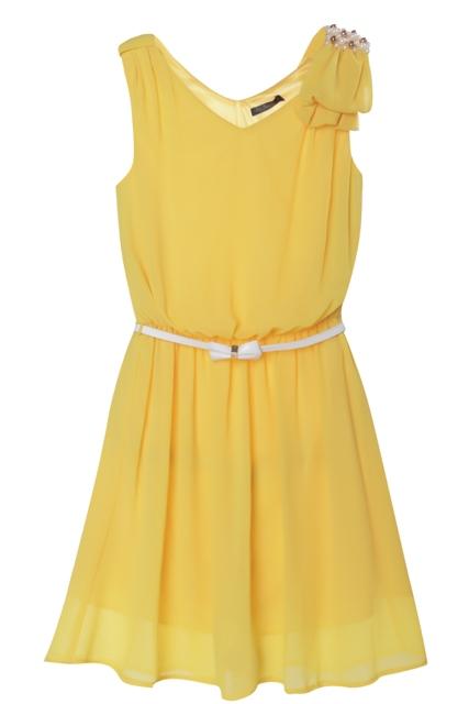 Желтые платья до колен