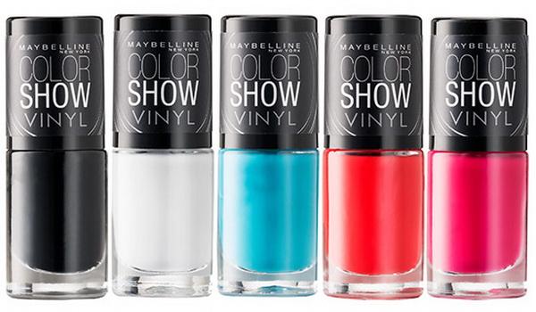 Захватывающие новинки от Maybelline из линии Color Show Nail – коллекция полуматовых лаков с виниловым финишем, имитирующим кожу. В коллекцию вошли 5 новых оттенков лаков, которые позволят создавать самые необычный маникюр – они хорошо как в соло-исполнении, так и в комплексе друг с другом.   В коллекцию Maybelline Color Show Vinyl Nail Fall 2014 вошли 5 оттенков:  400 Grey Beats — серый; 401 Teal The Deal — бирюзовый; 402 Pink Punk — розовый; 403 Record Red — красный; 404 Black To Basics — черный. Скоро Хэллоуин 2014! А ты уже выбрала свой праздничный маникюр? Если нет, приглашаем в эту статью по ссылке.