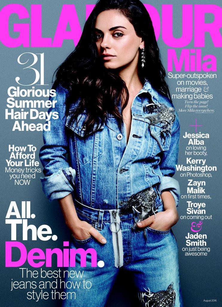 Все равно что голая: Мила Кунис снялась ненакрашенной для обложки журнала