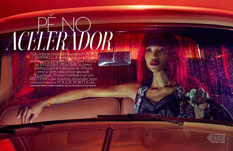 Розовая пантера: Наоми Кемпбелл с розовыми волосами в фотосессии Vogue Португалия