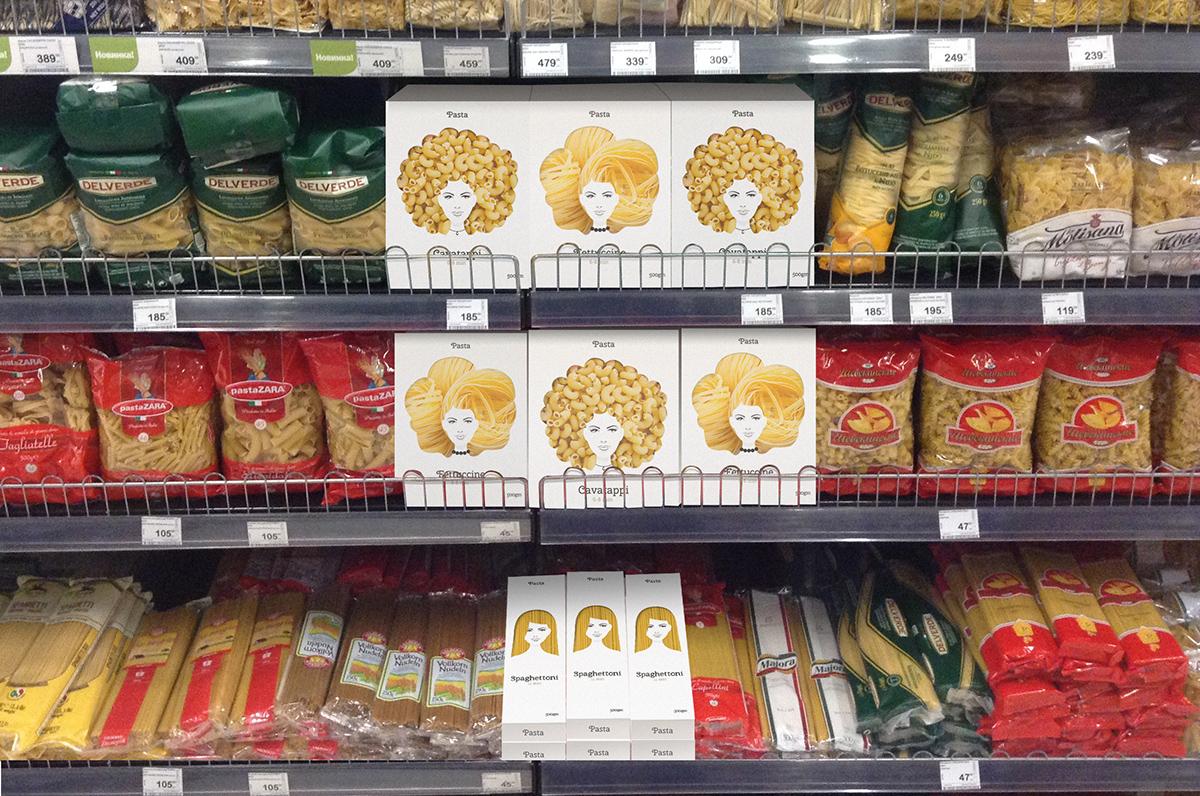 Волосы-спагетти: дизайнер придумал очень остроумный концепт упаковки для макаронных изделий
