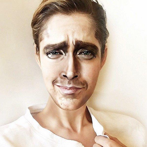 девушка с помощью макияжа становится точной копией знаменитостей