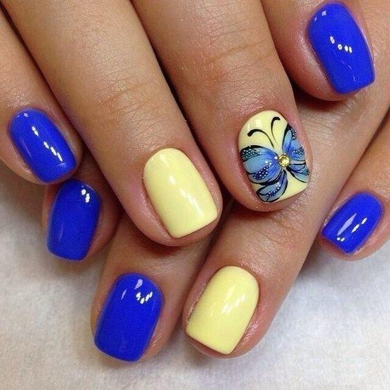 День флага: стильный маникюр в сине-желтых оттенках (ФОТО)