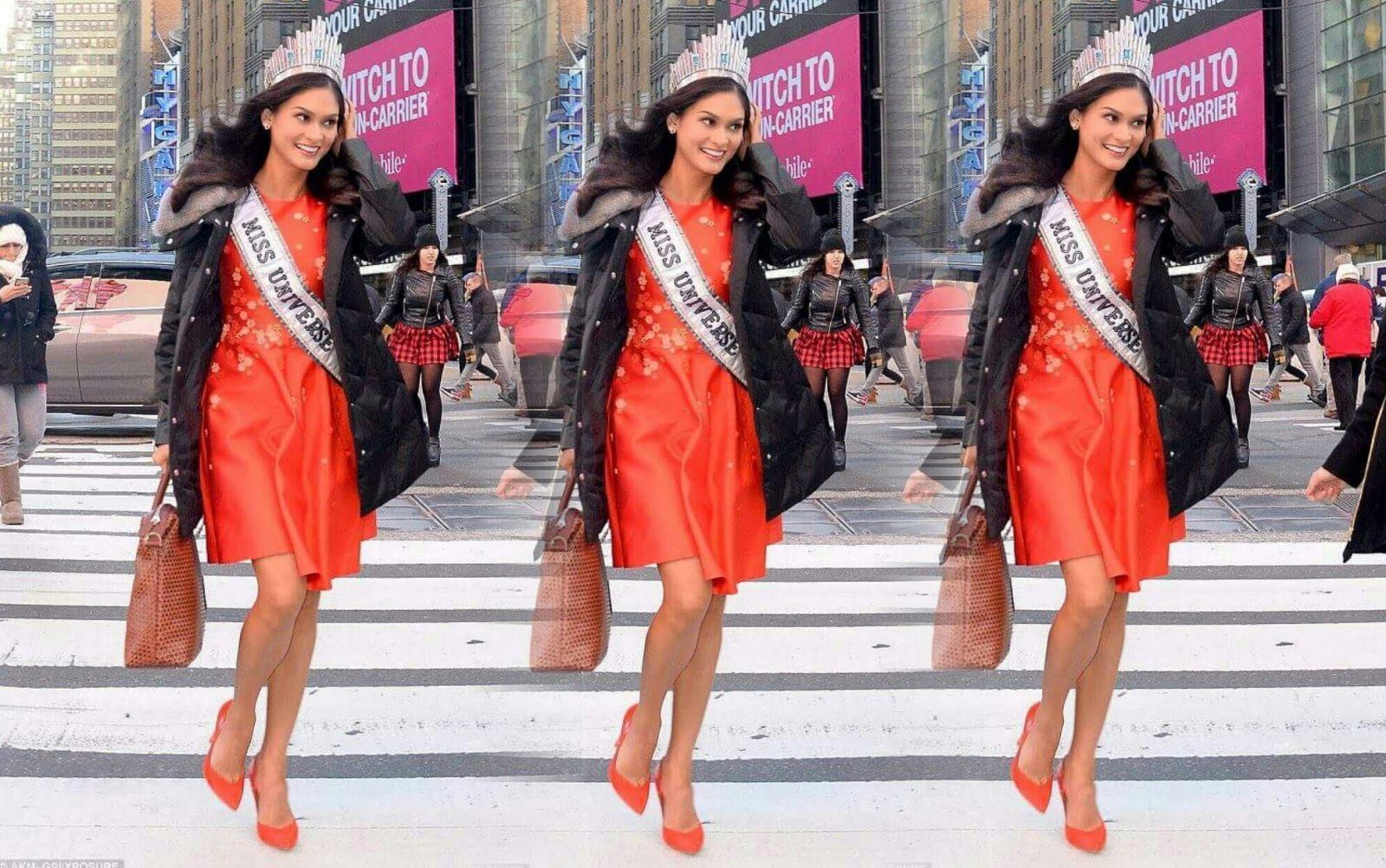 Королева на улице: Мисс Вселенная 2015 Пиа Вуртсбах прогулялась по Нью-Йорку