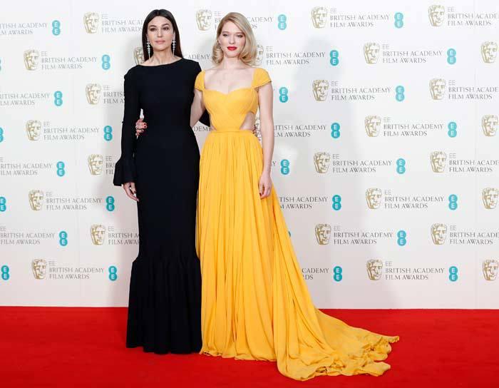 На церемонии  BAFTA 2015 Моника Беллуччи появилась в черном платье от Alaia.