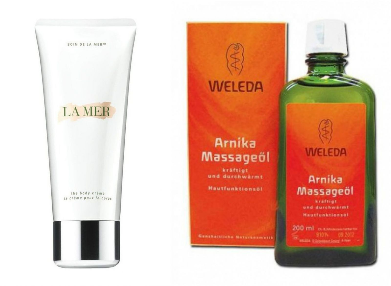 La Mer The Body Creme и Массажное масло Арника Weleda Arnika Massageol