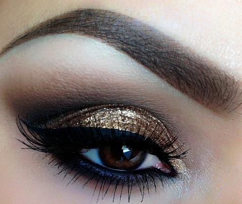 золотой макияж глаз