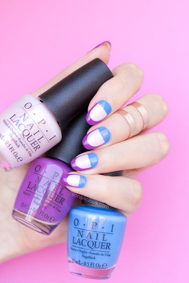 Субботний маникюр: стильный фиолетово-голубой нейларт с лаками OPI фото