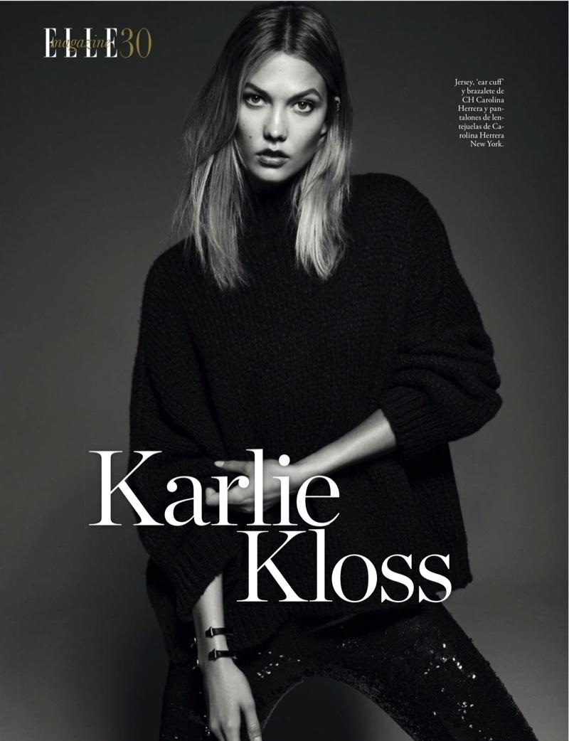 Карли Клосс в нарядах Carolina Herrera позирует на страницах журнала ELLE