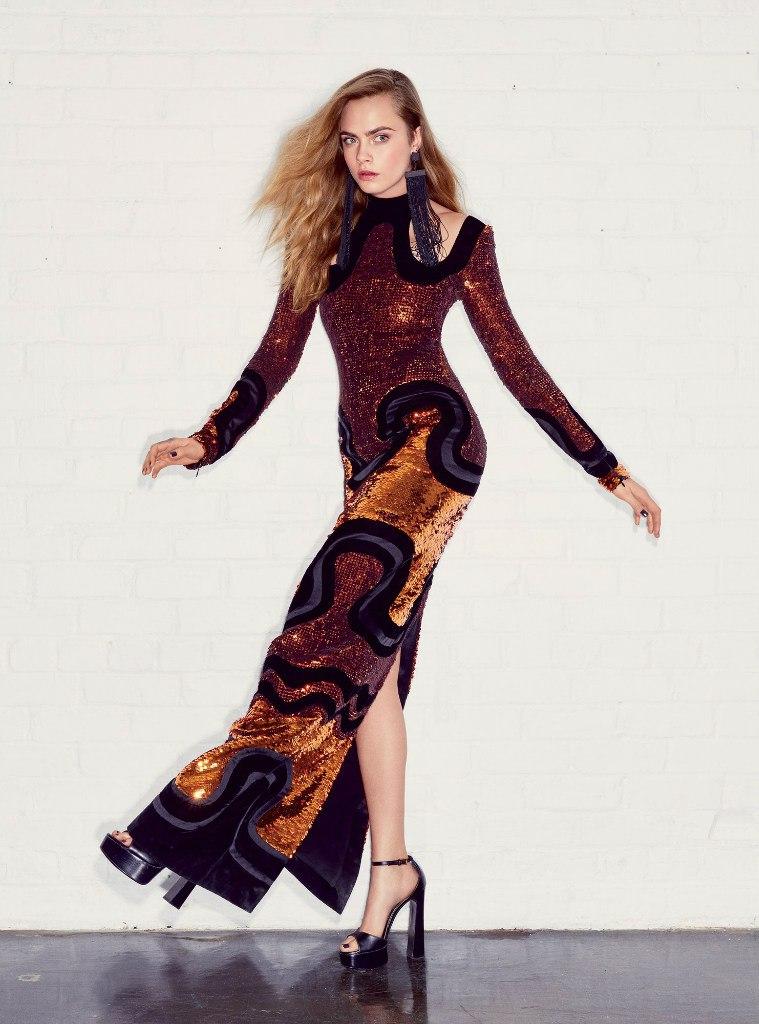 Элегантная Кара Делевинь блистает в модном глянце