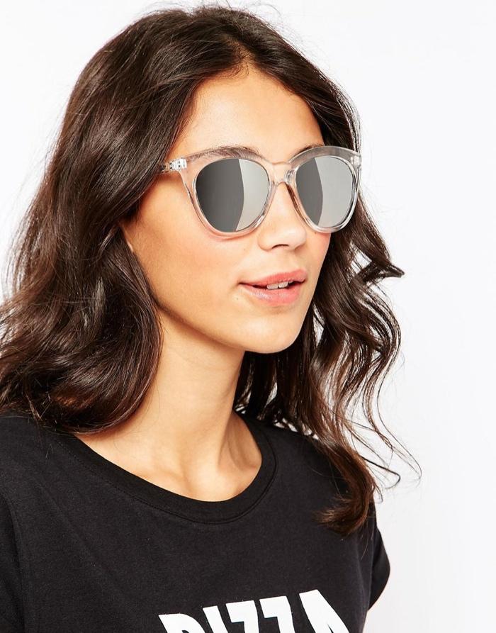 Солнцезащитные очки Cat Eye с зеркальными линзами и прозрачной пластиковой оправой