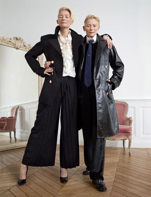 """В двое больше: """"раздвоение"""" Тильды Суинтон в фотосессии для Madame Figaro"""