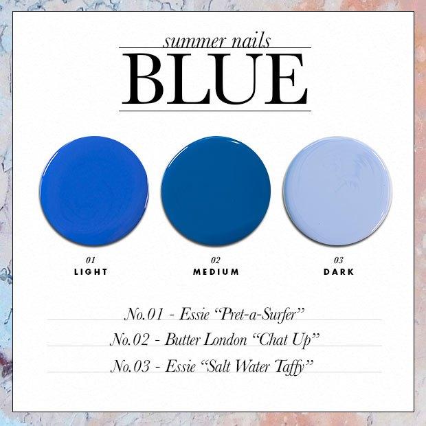 Как выбрать синий оттенок лака?