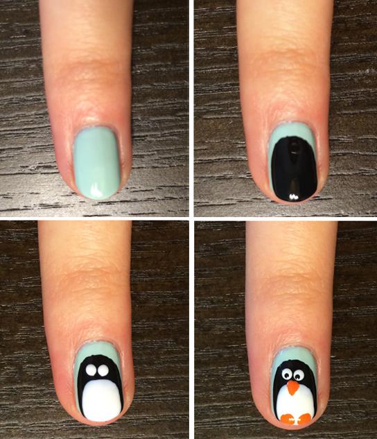 Холодно, Арктика: простейший вариант зимнего нейл-арта - рисуем пингвина