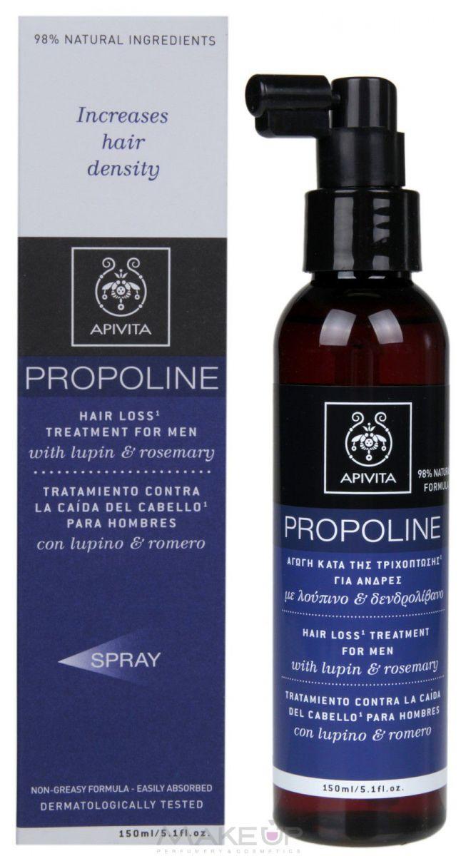 Спрей-лосьон с люпином и розмарином (150 мл) Увеличивает фазу роста волос, укрепляет, тонизирует и питает волосы (люпин, розмарин, женьшень, витамины и питательные элементы), регулирует жирность (прополис, тимьян, хна, чайное дерево, крапива), защищает волосы и кожу головы от воздействия окружающей среды и преждевременного старения (Bio Cotton Protection System, прополис, розмарин, флавоноиды винограда), приносит ощущение комфорта (эфирные масла тимьяна и кардамона).  Натуральные активные ингредиенты: люпин, розмарин, женьшень, витамины В3, В5, биотин, прополис, тимьян, хна, чайное дерево, крапива, эфирные масла тимьяна и кардамона, система Bio Cotton Protection System (хлопковый нектар+олигосахарид+аргинин), настой розмарина вместо воды. Применение: ежедневно наносить на корни сухих волос (выполнять по 8–10 надавливаний на каждую часть головы), втирать легкими массирующими движениями.